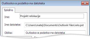 Pogovorno okno Outlookova podatkovna datoteka (.pst)