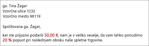 Rezultat spajanja je dokument »vaš prispevek 50,00 EUR« in »ponudba za 20-odstotni popust«.