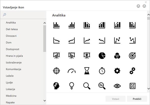 Ikono, ki jo želite vstaviti, lahko izberete v Officeu v knjižnici ikon.
