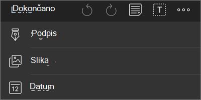 Več možnosti za meni za krmarjenje v OneDrive za iOS PDF
