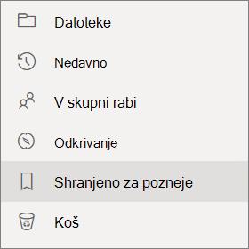 Možnost» Shrani za kasnejši pogled «v leftside krmarjenje po OneDrive za podjetja