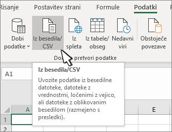 Izbiranje besedila/CSV na zavihku» podatki «