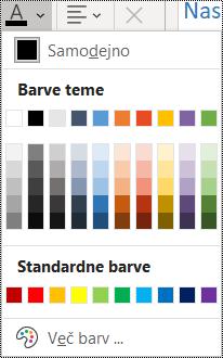 Posnetek zaslona možnosti barve pisave v meniju »Osnovno«.