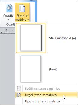 Izberite Uredi strani z matrico v meniju strani z matrico