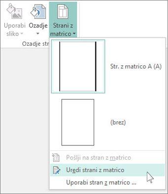 Posnetek zaslona spustnega menija »Uredi stran z matrico« v Publisherju.