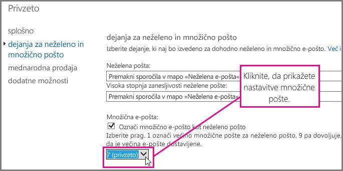 Nastavitev filtra množične pošte v storitvi Exchange Online