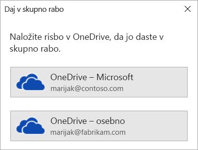 Če svoje risbe niste shranili v storitev OneDrive ali SharePoint, vas Visio pozove, da to naredite.