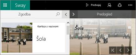 Posnetek zaslona podoken »Zgodba« in »Predogled«.