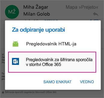Pregledovalnik OME s programom Outlook za Android 2