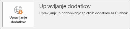 Gumb za upravljanje dodatkov v Outlooku