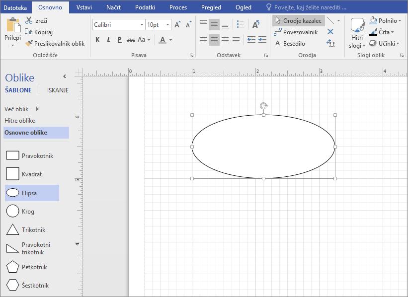 Povlecite obliko iz šablone »Osnovne oblike« v podokno za risanje.