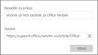 Posnetek zaslona pogovornega okna za dodajanje povezave hiperbesedila v OneNotu za Windows 10.