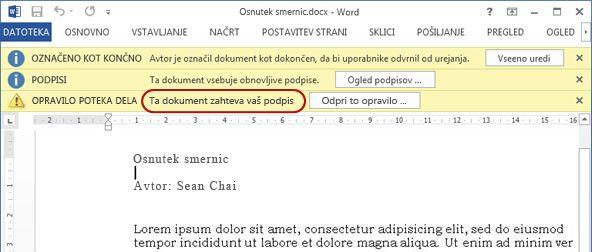 Določanje besedila v elementu za pregled