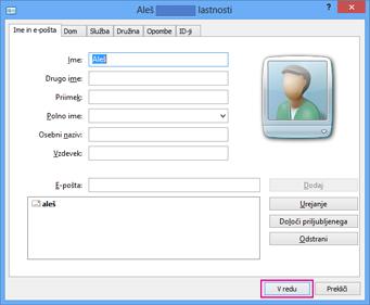 Izberite »V redu« za vsak stik, ki ga želite uvoziti v datoteko csv.