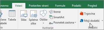 Na zavihku »Vstavljanje« na traku najdete dodatki skupino »Dodatki« za upravljanje dodatkov za Excel