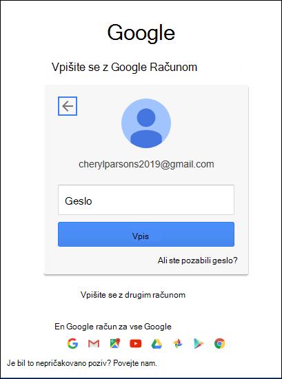 Vnesite geslo za Gmail.