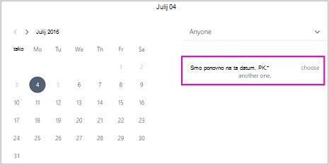 Če ste zaprli office stranke, boste videli sporočilo, da ni razpoložljivost. Izberite drug datum.