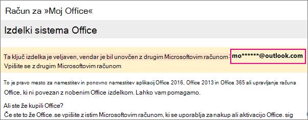 Stran »Moj račun za Office«, na kateri je prikazan del Microsoftovega računa