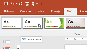 Posnetek zaslona Officeove teme na zavihku »Načrt«
