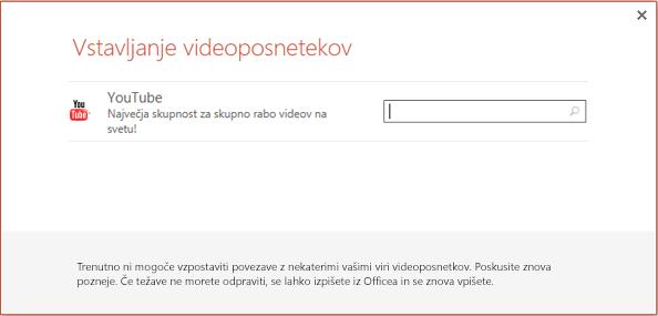 To je pogovorno okno »Vstavljanje spletnega videa« v programu PowerPoint 2013.