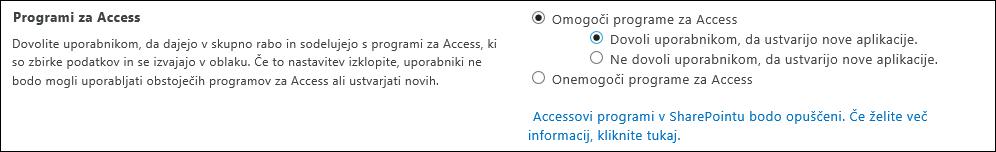 Posnetek zaslona z nastavitvami Accessovih programov na strani skrbniškega središča SharePoint
