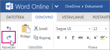Uveljavitev spremembe v programu Word Online