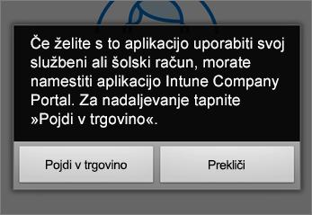 Tapnite Pojdi v trovino, če želite prenesti aplikacijo Intune Company Portal