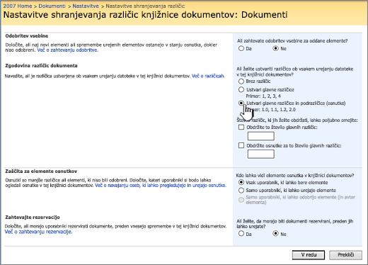 Nastavitve shranjevanja različic za vklop shranjevanja različic, odobritve in zahteve za sprostitev
