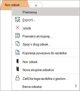 Posnetek zaslona priročnega menija z izbrano možnostjo »Preimenuj«.