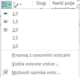 Posnetek zaslona z navodili za spreminjanje razmika vrstic v Publisherju.