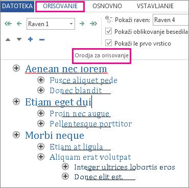 Slika z nekaterimi orodji za orisovanje v meniju »Orisovanje« z vzorčnim orisom v besedilu lorem ipsum