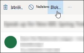 Možnost bloka sporočila Outlook.com