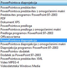 Shranite predstavitev kot PowerPointovo diaprojekcijo.