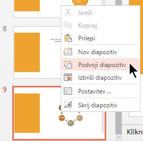 Z desno tipko miške kliknite diapozitiv in nato izberite »Podvoji diapozitiv«