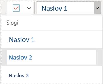 Seznam naslovov v aplikaciji OneNote za Windows 10