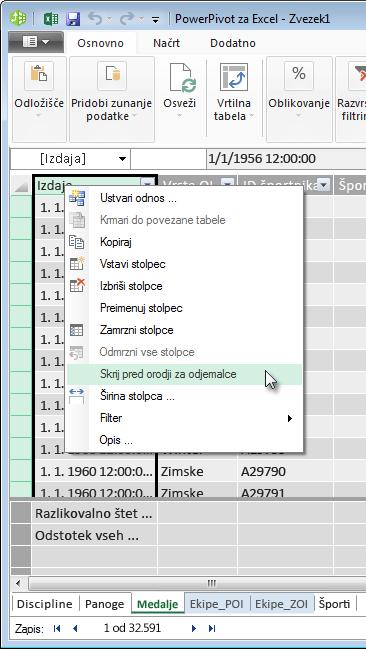 kliknite z desno tipko miške, da onemogočite prikaz polj tabele v orodjih za odjemalce v Excelu