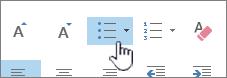 Gumbi za označevanje in oštevilčevanje v Outlooku