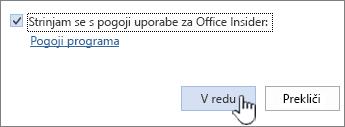 Pogoji uporabe programa Office Insider za sporazume