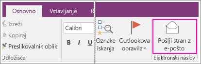Posnetek zaslona gumba »Pošlji stran po e-pošti« v programuOneNote 2016.