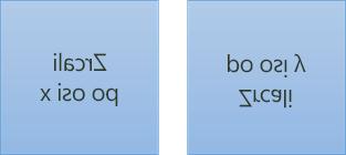 Primer zrcaljenega besedila: prvo je zasukano za 180 stopinj na osi x, drugo pa za je zasukano za 180 stopinj na osi y
