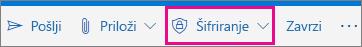 Outlook.com trak z označenim gumbom» Šifriraj «
