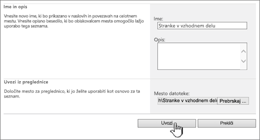 Pogovorno okno za ustvarjanje preglednice za uvoz z označeno možnostjo za uvoz