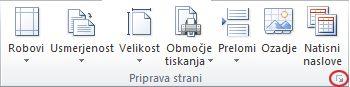 Slika traku programa Excel