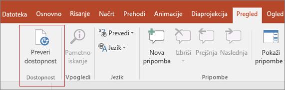 Zaslonski posnetek uporabniškega vmesnika za Word, ki prikazuje pregled > preverjanje dostopnosti z rdečim poljem okoli njega.