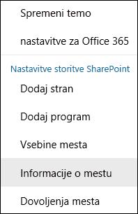Posnetek zaslona SharePointovega mesta, na katerem je prikazana menijska možnosti »Informacije o mestu«.