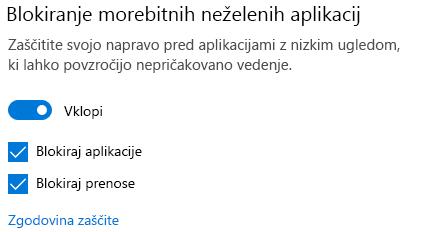 Morebitno neželena aplikacija, ki blokira kontrolnik v sistemu Windows 10.