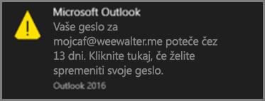 Slika obvestila, ki je prikazana uporabniku, v času, ko bo njegovo geslo kmalu poteklo.