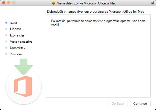 Prvi namestitveni zaslon za Mac 2016 z označeno možnostjo »Naprej«
