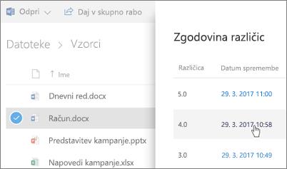 Posnetek zaslona Zgodovina različic za OneDrive za podjetja datoteko, ki je prikazan v podoknu s podrobnostmi