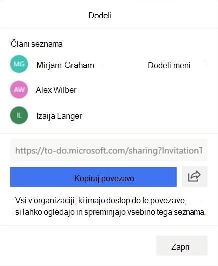 Posnetek zaslona, ki prikazuje odprt meni» dodeli meni «, in možnost dodeljevanja članom seznama: Miriam Graham, Alex Wilber in Izaija Langer ter možnost za kopiranje in skupna raba povezave do seznama.